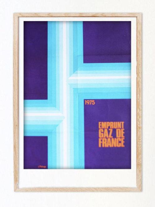 1975. Affiche campagne emprunt Gaz de France