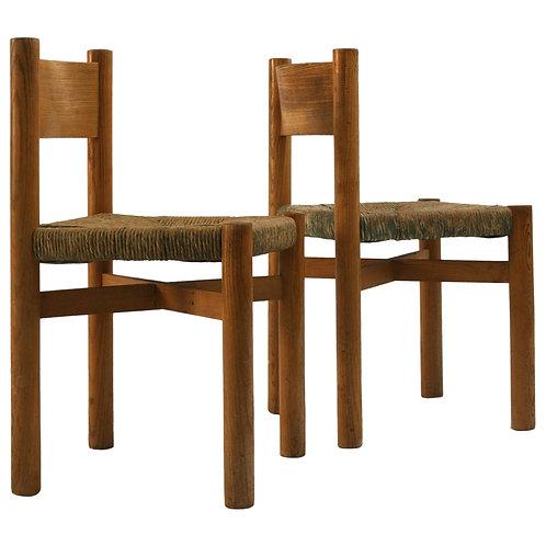"circa 1960. Charlotte Perriand chairs""Meribel"""