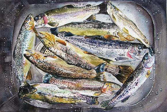 "Sink Full of Trout, 16"" x 20"""