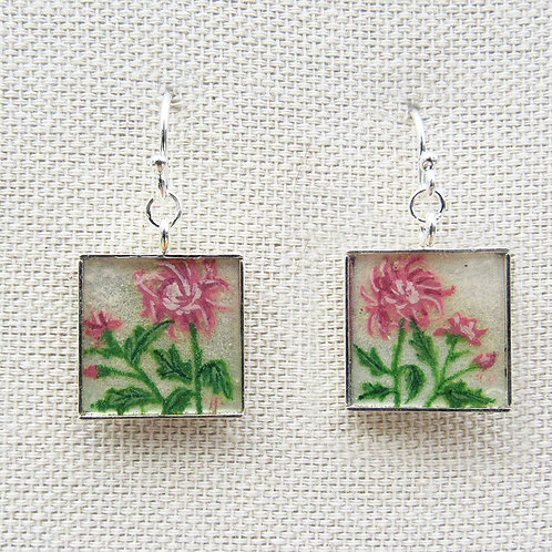 Chrysanthemums Square Earrings