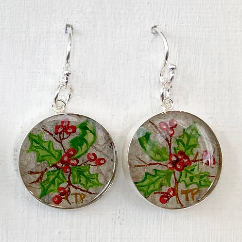 December Holly Earrings