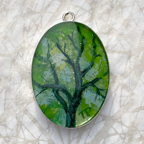 Summer Emerald Branches Oval