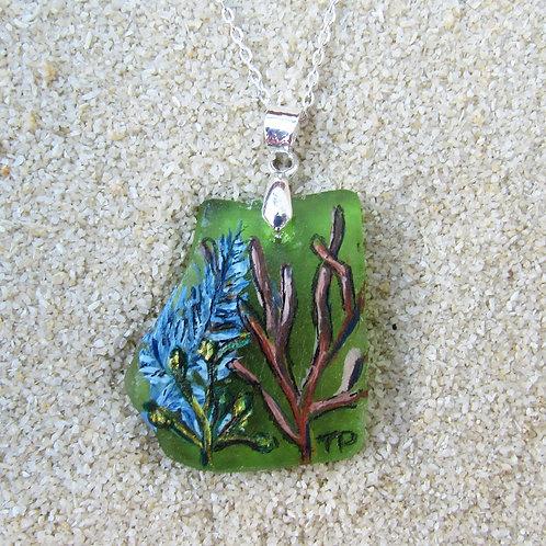 Green Sea Glass Pendant with Sea Plants, 1
