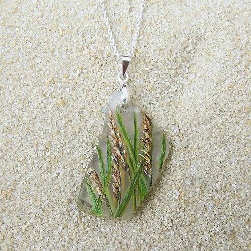 White Sea Glass Pendant with Closeup of Beach Grass