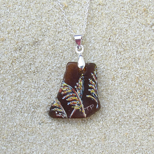 Small Amber Sea Glass Pendant 1