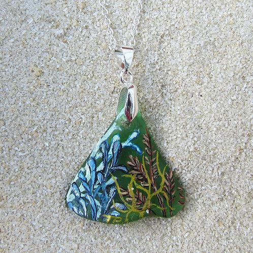 Green Sea Glass Triangle Pendant with Sea Plants