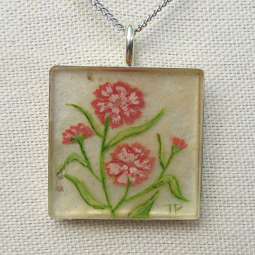 Carnations Large Square Necklace