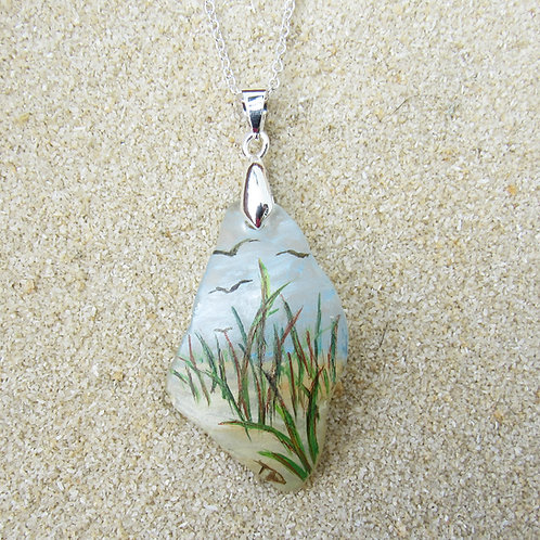 White Sea Glass Pendant with Sand Dunes and Birds