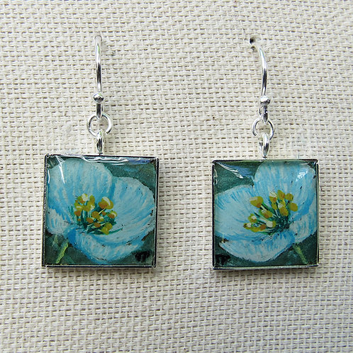 Himalayan Blue Poppy Earrings