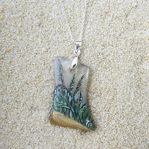 White Sea Glass Pendant with Dark Sea Grass