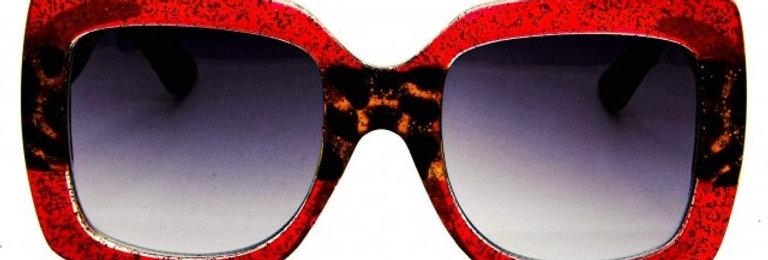 Óculos de Acetato Estampa Vermelha