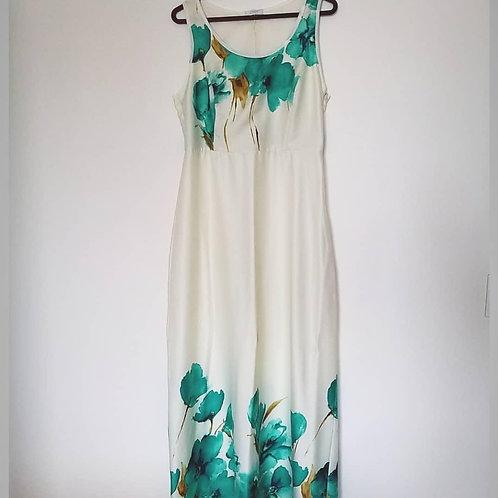 Vestido longo off white com estampa floral