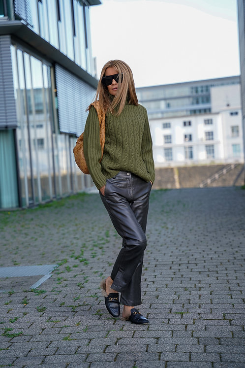 LAMAII CASHMERE PULLOVER MIT ZOPFMUSTER