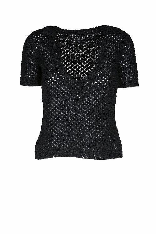 Boscana Handstrick Poloshirt in schwarz