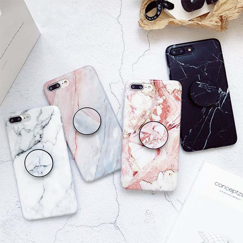 new arrival dfe15 05f44 Marble + PopSocket Holder iPhone Case
