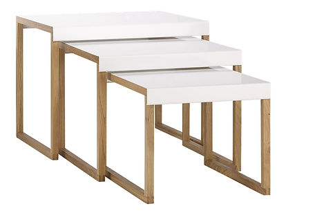Stackable accent tables made of metal and solid oak