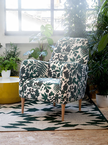 Daborn seat, Habitat. Forrest pattern created by Claire Leina