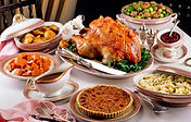 Turkey Dinner, side dishes, dessert. beverages, gravy