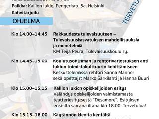 Tervetuloa Tunne Työ -hankkeen koulutusohjelman päätösjuhlaan to 22.11.2018 klo 14-16 Kallion lukiol