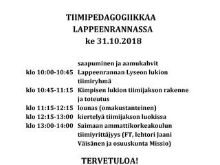 Lähde tutustumaan tiimipedagogiikkaan Lappeenrantaan - Mukaan voi vielä ilmoittautua ma 22.10. asti