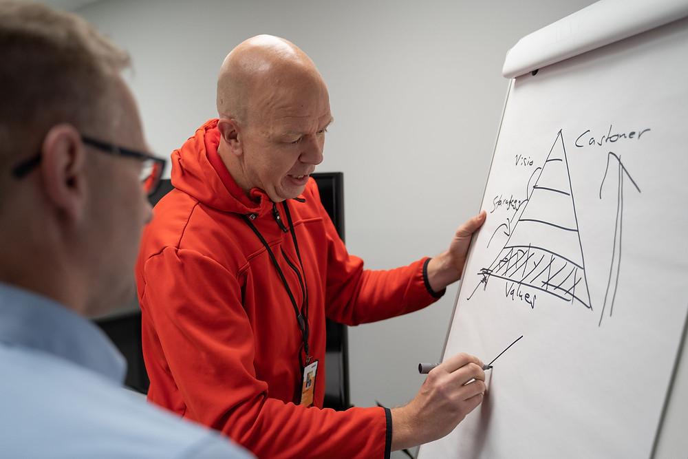 Copyright EC, kuvassa Raute Oyj:n Sami Mattila ja Lahden lyseon apulaisrehtori Kalle Nieminen
