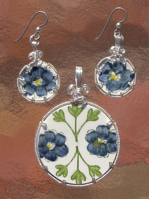 Stoneware Pendant & Earring Set