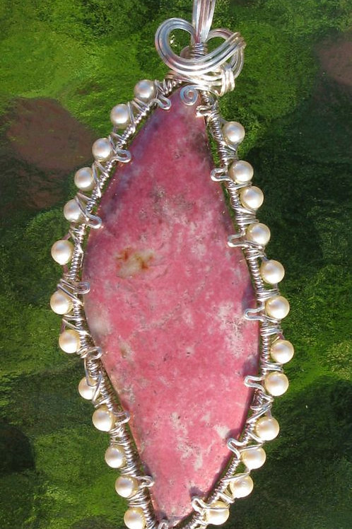 Norwegian Thulite Pendant Surrounded by Swarovski Pearls