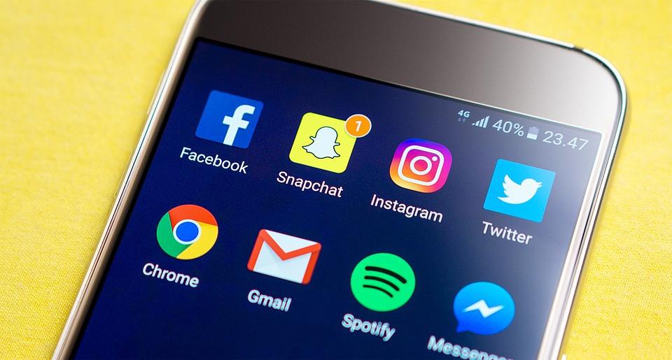 social media platforms shown on mobile screen