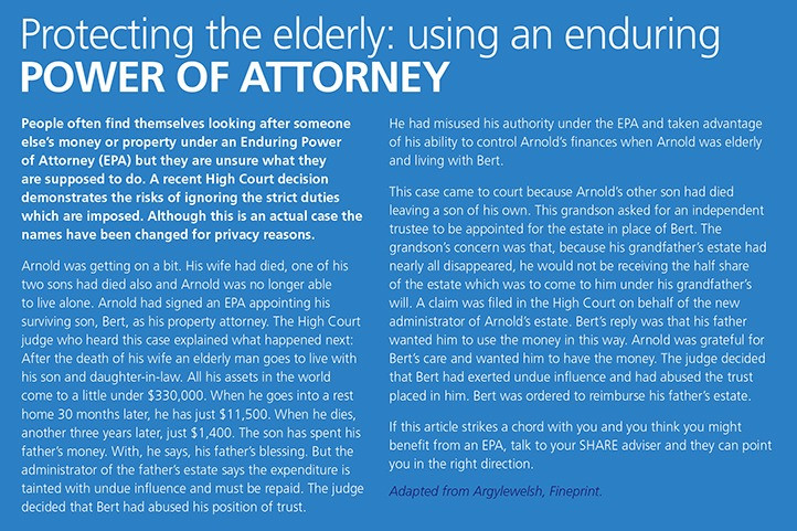 Protecting the elderly: using an enduring POWER OF ATTORNEY