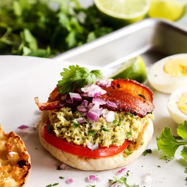 Pacific Crown Tuna Guacamole Breakfast Sandwich with Bacon
