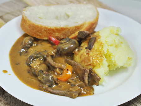 How to make Classic Beef Stroganoff with smashed potato at home.