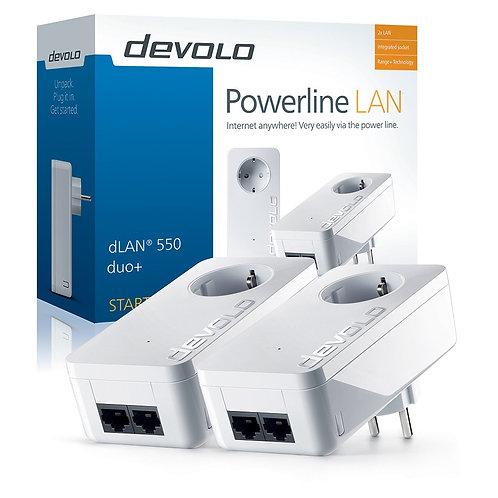 Devolo dLan powerline 550 duo+ KIT 2 τεμαχίων, ταχύτητας 500 MBps, με 2 φις Ethe