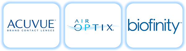 Major Contact lens brands including acuvue, air optix, biofinity