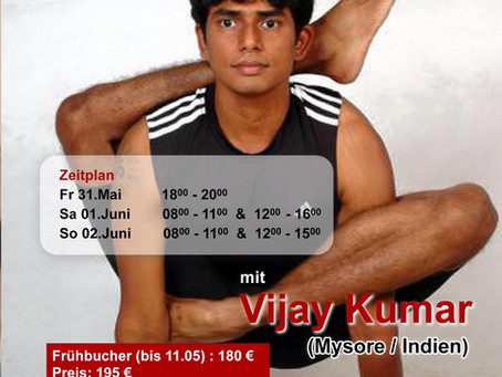 Ashtanga Yoga Workshop mit Vijay Kumar <br>aus Mysore, Indien (31. Mai - 2. Juni)