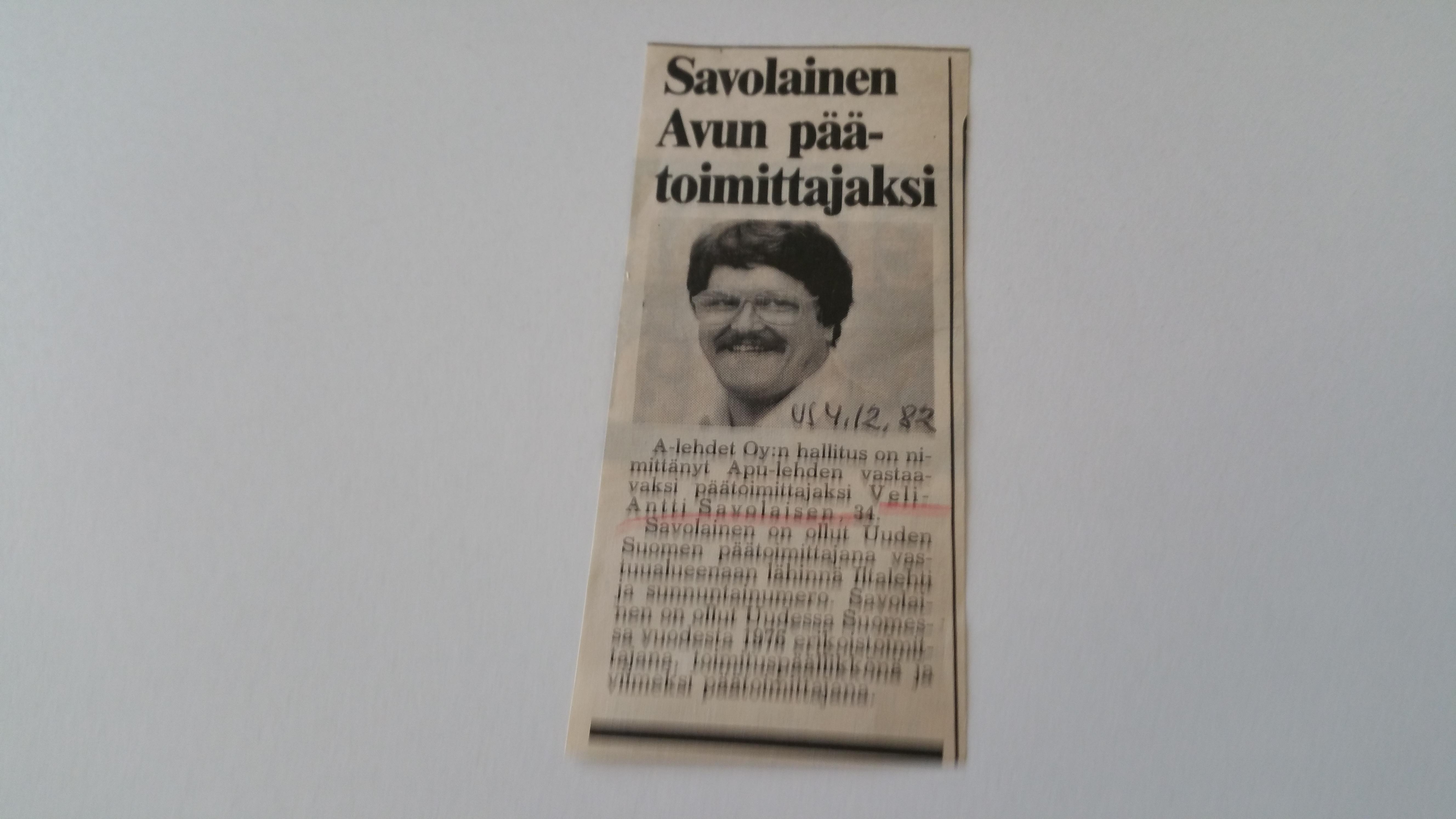 Apu lehden päätoimittaja 1983-86