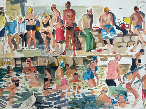 Sandycove Bathers. Acrylic on paper, 36x28cm.