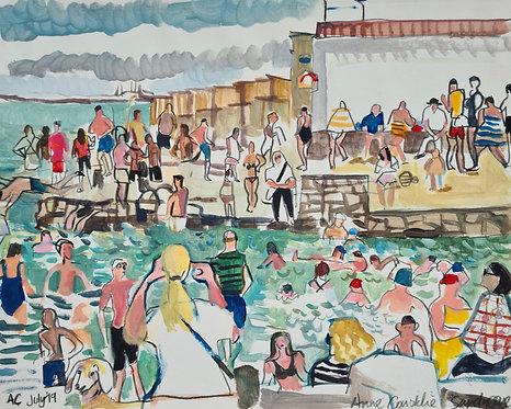 Sandycove Beach. Acrylic on paper, 36x28cm.