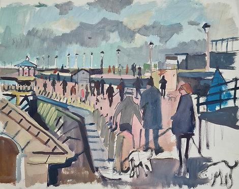 Dun Laoghaire Pier Walkers. Acrylic on paper, 36x28cm.