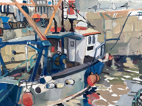 Boat at the Coal Harbour, Dun Laoghaire. Oil on paper, 30x21cm.