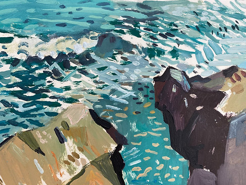 Sea Cliff at Donabate, County Dublin. Oil on paper, 30x21cm.
