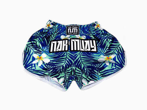 Blue floral Atoll Muay Thai shorts