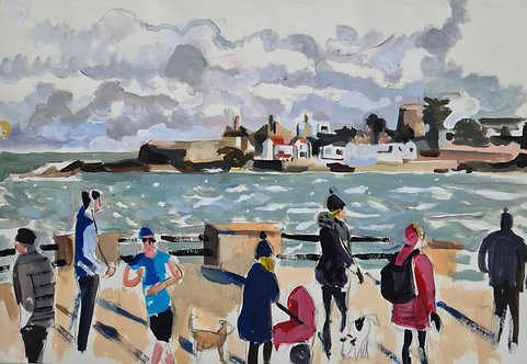 Dun Laoghaire Seafront with view of Sandycove. Acrylic on paper, 42x28cm.