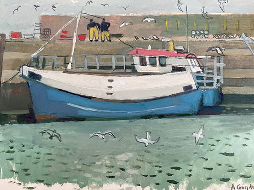 The Coal Harbour,  Dun Laoghaire (two fishermen). Oil on paper, 30x21cm.