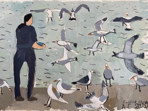 Feeding the gulls at Bulloch Harbour. Oil on paper, 30x21cm.