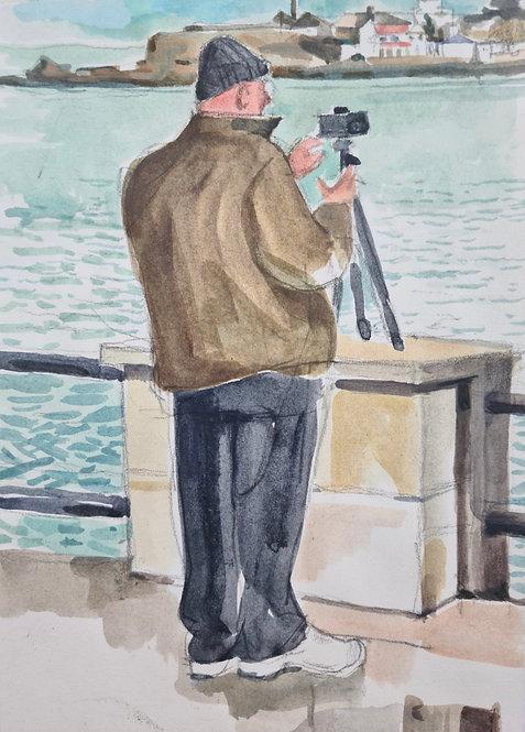 Cameraman. Acrylic on paper, 14x21cm.