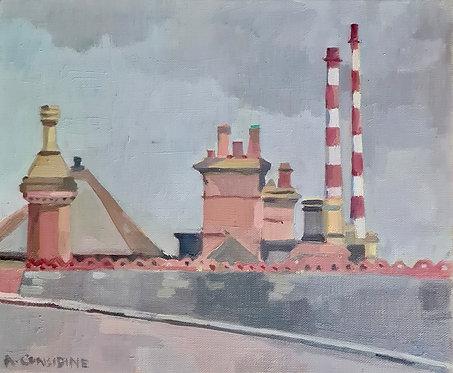 Chimneys. Oil on linen canvas, 31x25cm. Framed.