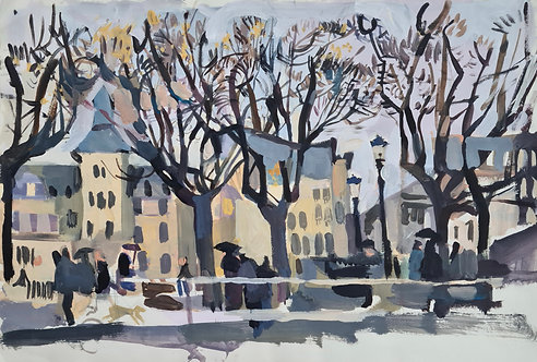 View to Royal Marine Hotel, Dun Laoghaire. Acrylic on paper, 42x28cm.