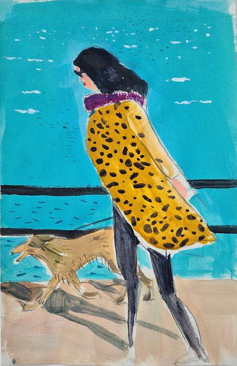 Stylish girl. Acrylic on paper, 14x21cm.