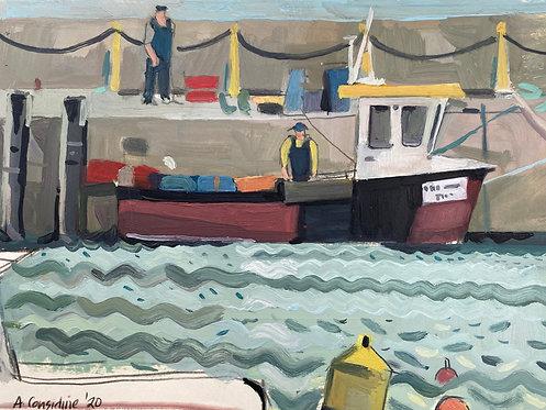 Fishermen unloading the day's catch. Oil on paper, 30x21cm.