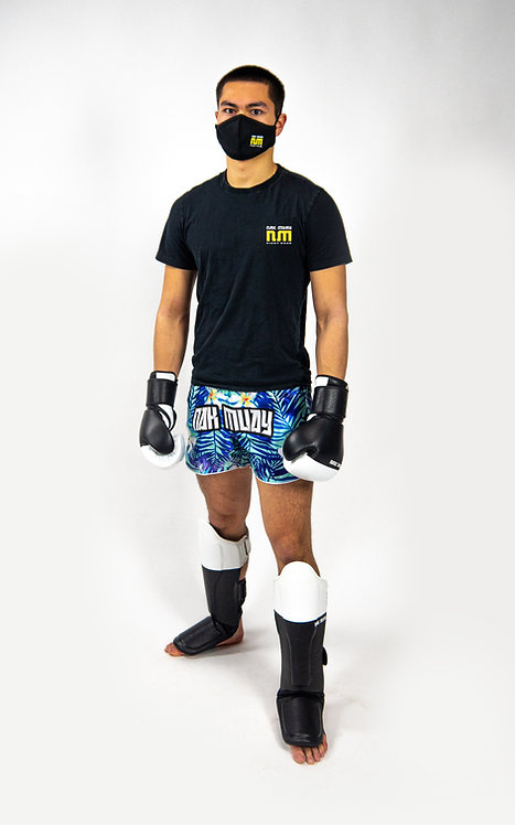Nak Muay white on black leather gloves